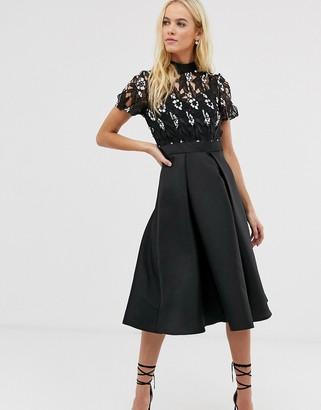 Little Mistress embroidered upper skater dress-Black