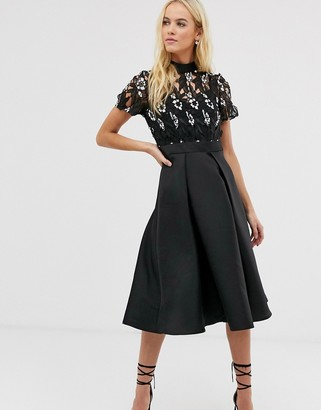 Little Mistress embroidered upper skater dress
