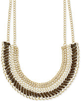INC International Concepts Gold-Tone Faux-Leather-Wrapped Collar Necklace, Only at Macy's