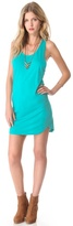 Blue Life Tank Dress with Curved Hem