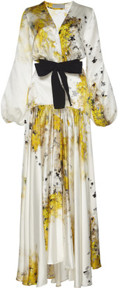 Silvia Tcherassi Felicity Tie-Detailed Printed Silk-Satin Maxi Dress