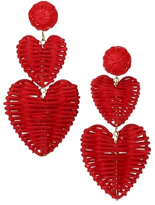 Rebecca De Ravenel 2-Piece Rattan Heart Drop Earrings