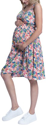 Angel Maternity Button Front Floral Maternity/Nursing Dress