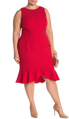 London Times Flounce Hem Stretch Crepe Dress (Plus Size)