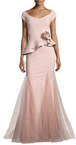 La Petite Robe by Chiara Boni Lady Cap-Sleeve Peplum Mermaid Gown
