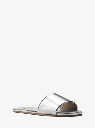 Michael Kors Delphine Metallic Leather Slide