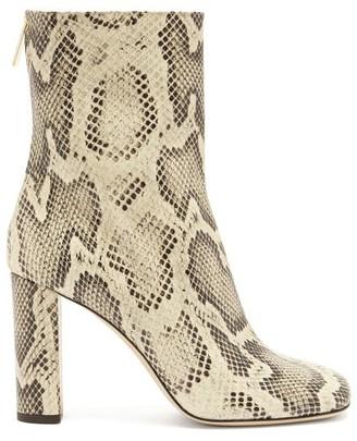 Paris Texas Python-effect Leather Boots - Cream Multi