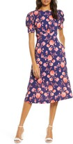 Vince Camuto Floral Puff Sleeve Crepe Dress