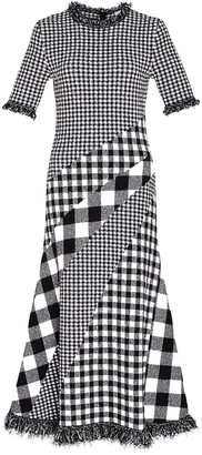 Oscar de la Renta Black And White Multi-print Dress
