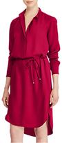 Lauren Ralph Lauren Jenalnio Crepe de Chine Shirt Dress, Carmine Red
