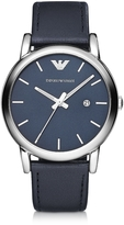 Emporio Armani Silver Tone Stainless Steel & Navy Leather Strap Men's Watch