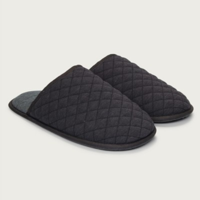 The White Company Men's Quilted Slippers, Dark Charcoal Marl, L(11/12)