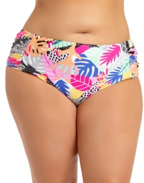 California Waves Trendy Plus Size Printed Bikini Bottoms, Created for Macy's Women's Swimsuit