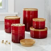 Crate & Barrel Le Creuset Canisters with Wood Lid
