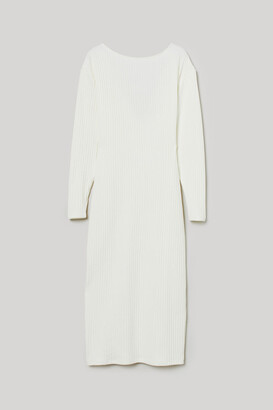 H&M Ribbed Jersey Dress - White