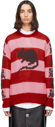 Marc Jacobs Pink and Red Stray Rats Edition Mohair Sweater