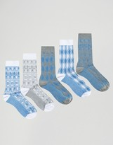 Asos Socks With Mixed Textures 5 Pack