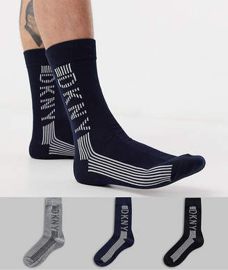 DKNY 3 pack large logo crew socks-Multi