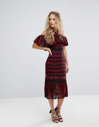 Foxiedox Cold Shoulder Midi Dress with Peplum Hem in Allover Lace