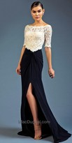 Mac Duggal Off the Shoulder Knotted Evening Dress
