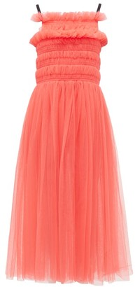Molly Goddard Shelly Lace-up Smocked Tulle Dress - Pink