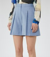 Reiss Miller Short - Pleated Culotte Shorts in Blue, Womens