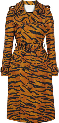 Adam Lippes Tiger-print Woven Trench Coat