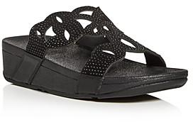 FitFlop Women's Elora Crystal Wedge Slide Sandals