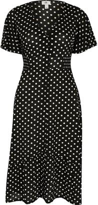 Ri Petite Petite Jersey Spot Button Through Midi Dress - Black