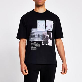 River Island Black photographic print boxy fit T-shirt