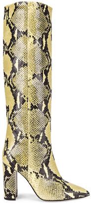 Paris Texas Knee High Python Print Boot in Chartreuse   FWRD