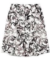 Carolina Herrera Ivory Baroque Stretch Cotton Pleated Skirt