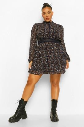 boohoo Plus Boho Ditsy Lace Skater Dress