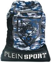 Plein Sport tiger print camouflage backpack