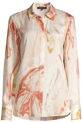 Lafayette 148 New York Scottie Abstract Print Silk Blouse