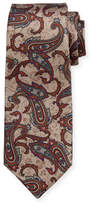 Kiton Paisley-Print Silk Tie, Tan