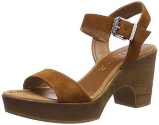 Unisa Women's Onesia_ks Ankle Strap Sandals, Brown Cuir