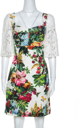 Dolce & Gabbana Multicolor Floral Printed Lace Sleeve Detail Dress M