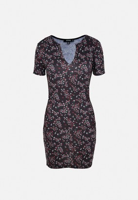 Missguided Black Floral Notch Neck Jersey Mini Dress