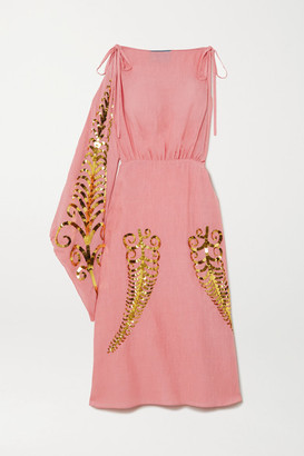 Prada One-sleeve Sequin-embellished Silk-gauze Midi Dress - Pink