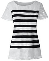 Lands' End Women's Petite Striped Lace Top-White