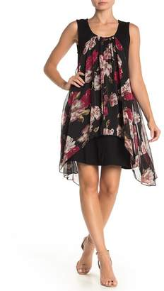 Papillon Floral Pleated Layered Tank Dress