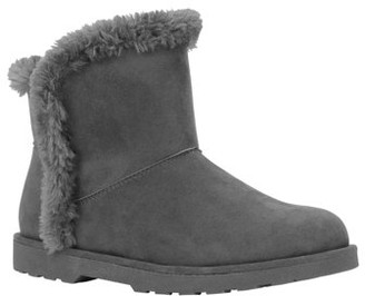 Calistoga Women's Vegan Suede Faux Fur Lining and Trim Ankle Bootie