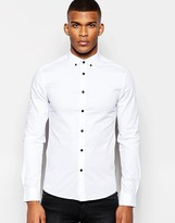 Asos Skinny Shirt In White With Long Sleeve And Contrast Buttons