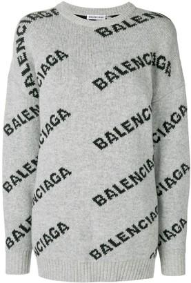 Balenciaga Jacquard Logo crew neck sweater