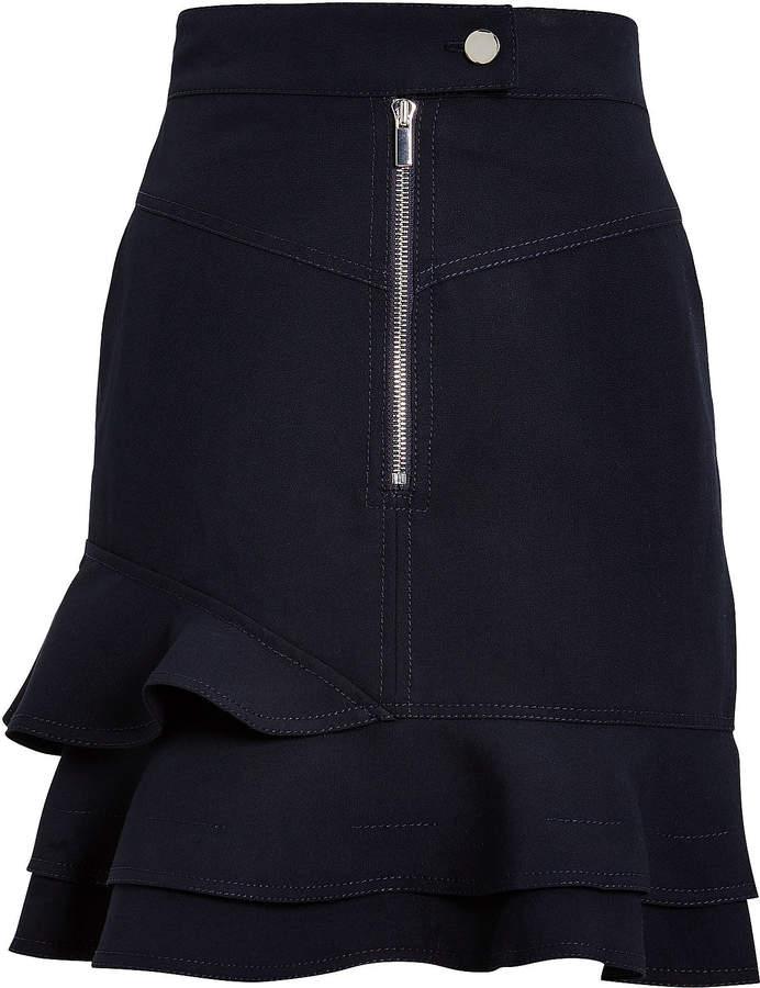 Derek Lam 10 Crosby Washed Canvas Ruffled Mini Skirt