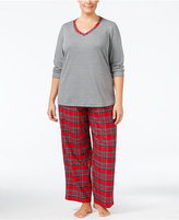 Charter Club Plus Size Trimmed Knit Top and Printed Pants Pajama Set, Only at Macy's