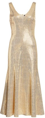 St. John Evening Paillette Shimmer Knit Dress