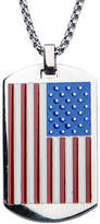 JCPenney FINE JEWELRY Inox Mens Stainless Steel American Flag Dog Tag Pendant Necklace