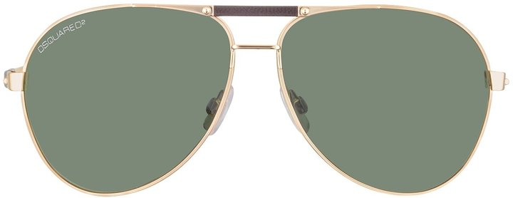 DSQUARED2 Signature Metal Aviator with Leather Bridge and Stems